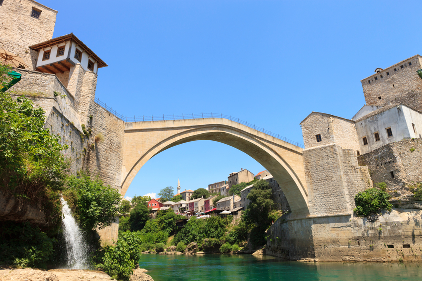 A view of the Stari Most bridge in Bosnia