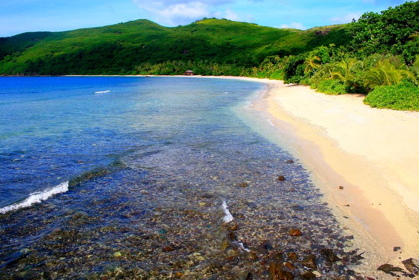 Paradise aerial view: Fiji Yasawa islands, deserted turquoise beach.