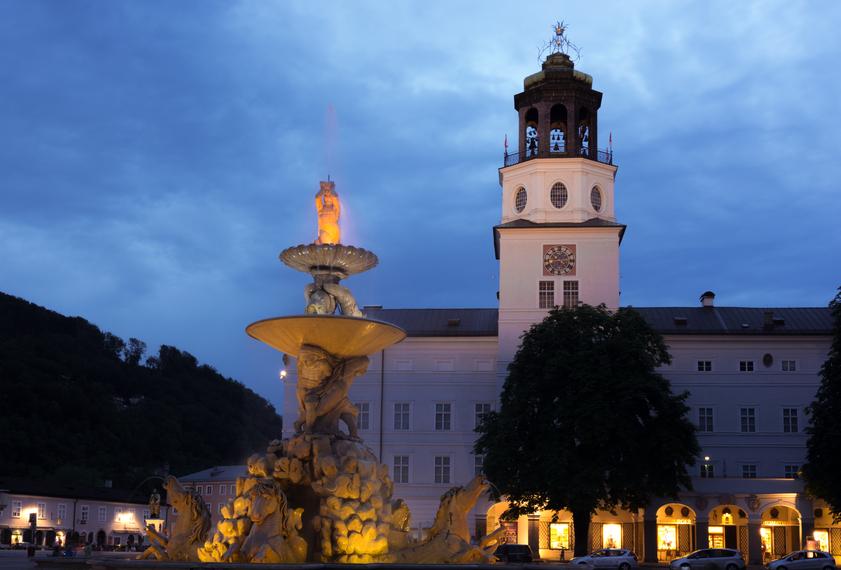 Fountain at Residenzplatz in Salzburg, Austria