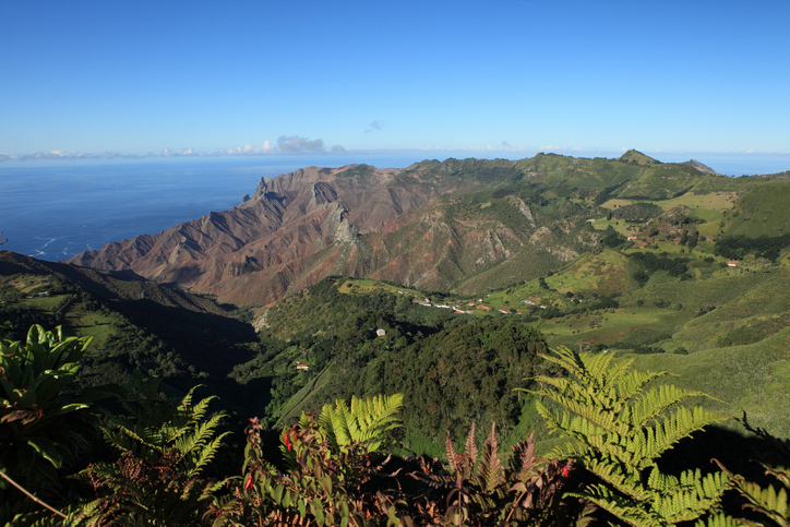 Mountainous district of Sandy Bay on St Helena Island taken from Dianas