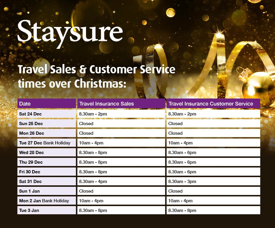 Staysure Travel insurance Christmas open hours
