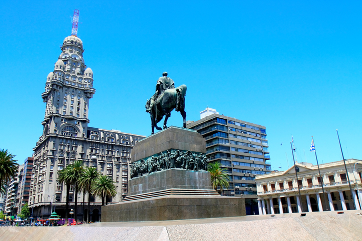 Salvo building and Artigas Independence Square - Montevideo, Uruguay