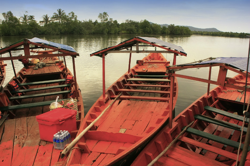 Boats in Ream National Park, Koh Thmei, Cambodia