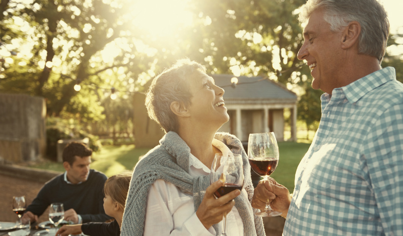 Mature couple wine tasting, Bordeaux