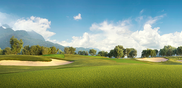 Golf course with mountains scenery