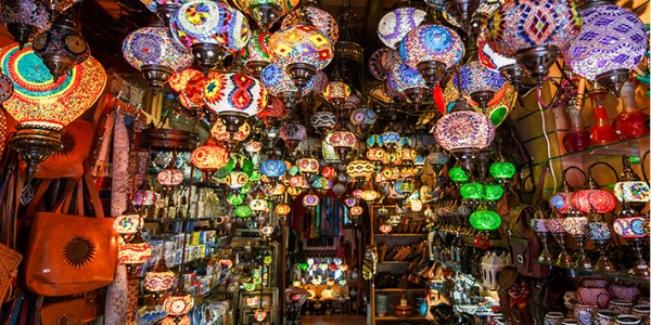 Moroccan lamps hanging in a shop