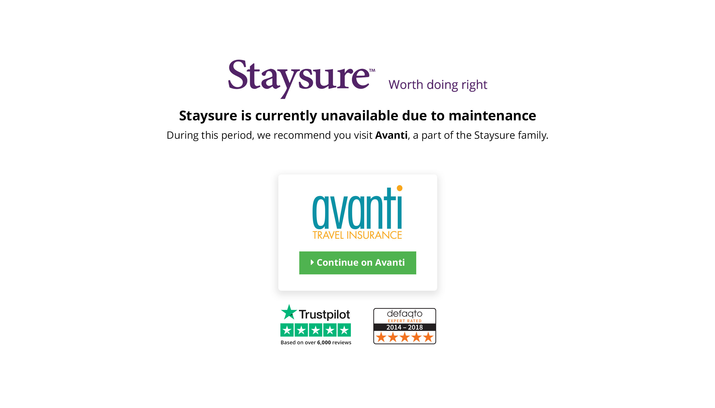 Staysure is currenlty unavailable