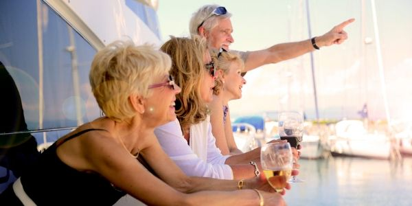 group of seniors on cruise boat