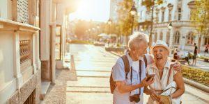 older couple exploring on holiday cruise