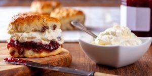 british scone with jam and cream