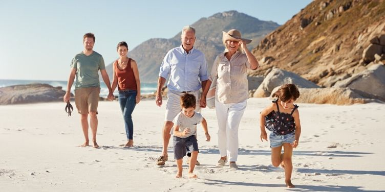 multi-generational family on the beach