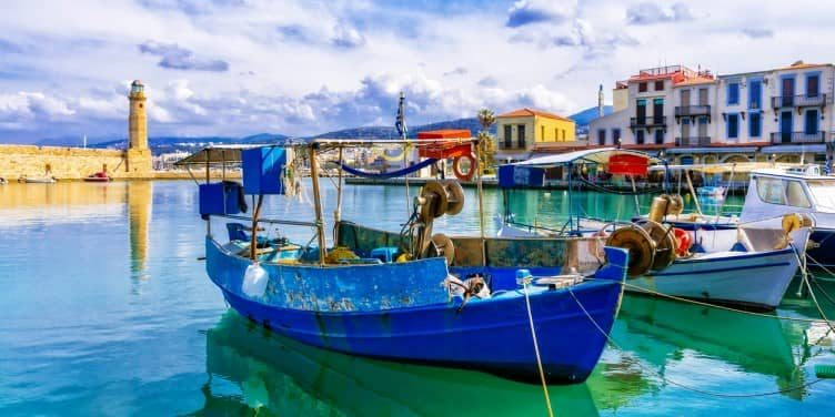 an image of a harbour in Rethymnon in Crete