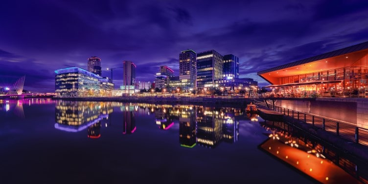 Salford Quays in Manchester at night