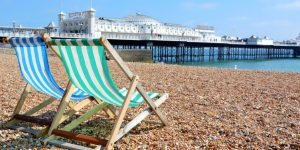Sun loungers on Brighton beach