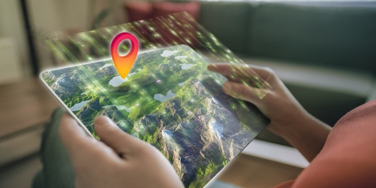 Augmented reality 3D map on tablet