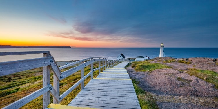 Boardwalk leading to Cape Spear Lighthouse in Newfoundland