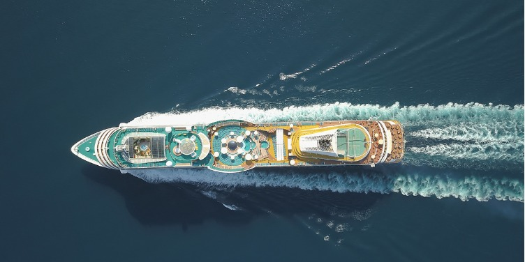 an image of a cruise ship from above