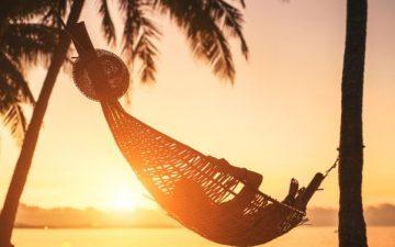 Hammock between palm trees on sandy beach at sunset