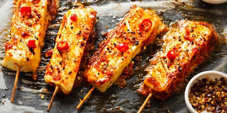 Halloumi cheese barbecue skewer with chilli