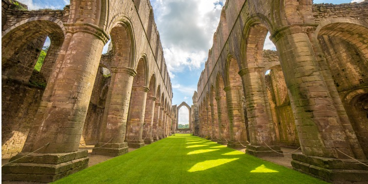 an image of the Ruins of Fountains Abbey, part of a World Heritage Site in North Yorkshire