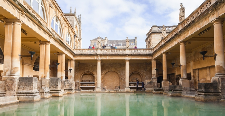 an image of Roman baths in the City of Bath, a World Heritage Site in Somerset