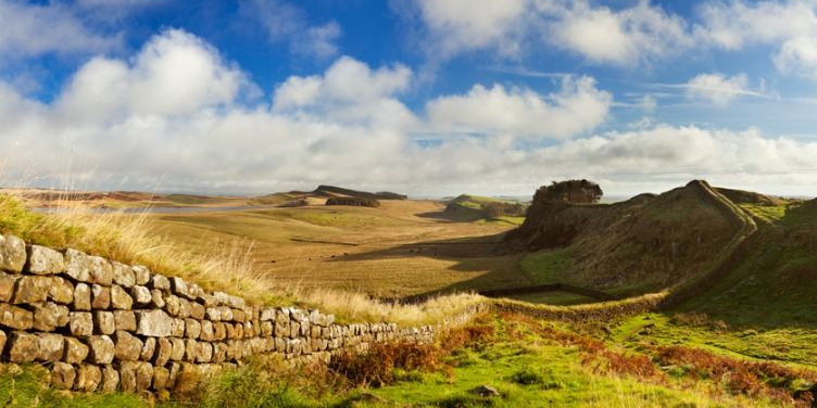 an image of Hadrian's Wall, part of the Frontiers of the Roman Empire, a World Heritage Site