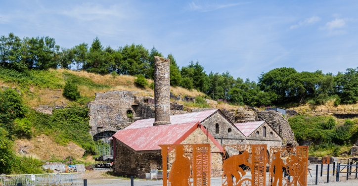 an image of Blaenavon Ironworks, part of the Blaenavon Industrial Landscape World Heritage Site in Wales