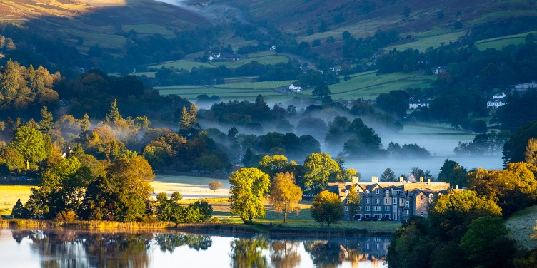 an image of sunrise in Grasmere, in the English Lake District, a World Heritage Site