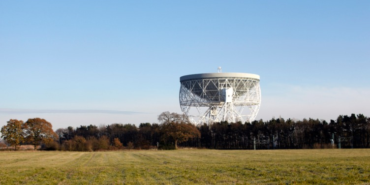 an image of Jodrell Bank Radio Telescope, part of the Jodrell Bank Observatory World Heritage Site in Cheshire