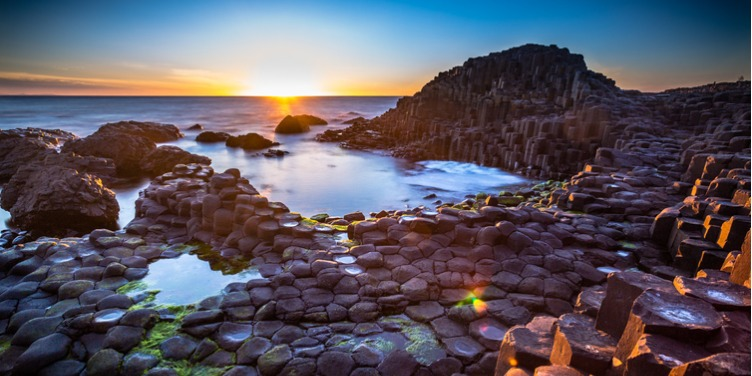 an image of the basalt columns of Giant's Causeway, part of a World Heritage Site in Northern Ireland