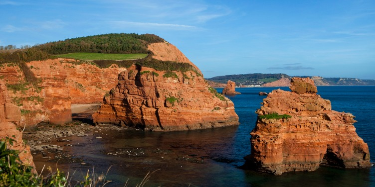 an image of Ladram Bay on the Jurassic Coast, part of the Dorset and East Devon Coast World Heritage Site