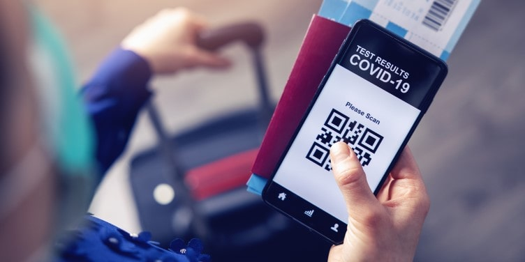 Mobile app concept showing covid-19 test results for travel