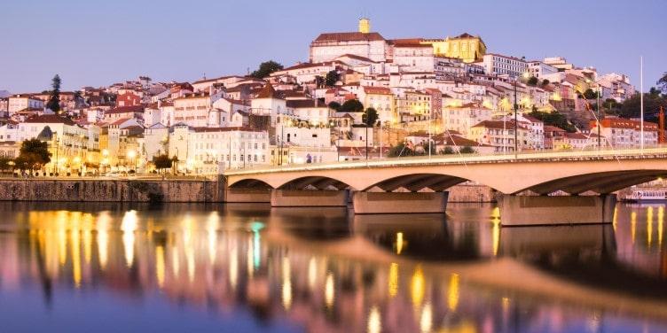 View of Coimbra at night