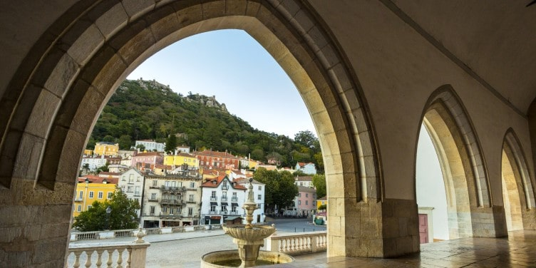 Old town square in Sintra Portugal