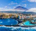 an image of Puerto de la Cruz, Tenerife from above with Mount Teide in the background