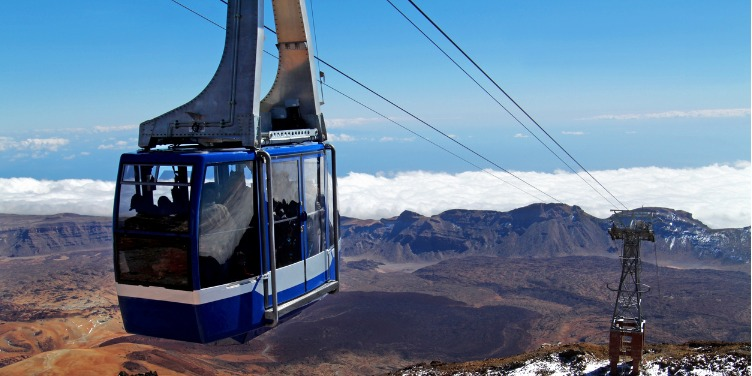 an image of a cable car on Mount Teide
