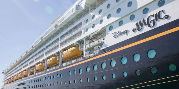 Close-up of a Disney Magic cruise ship