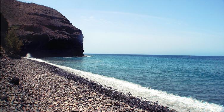 Secluded stony beach at GuiGui beach in Gran Canaria