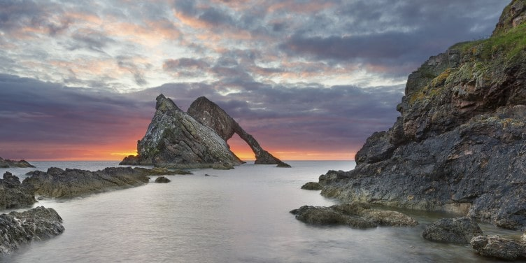 Bow Fiddle Rock at sunrise in Portknockie
