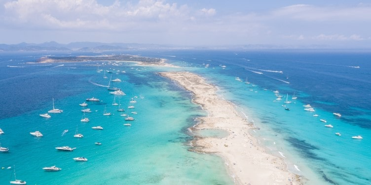 Aerial view of Formentera