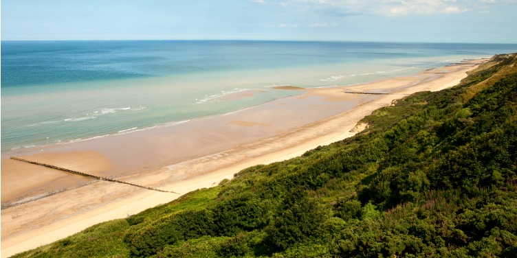 Views of the beach and sea from cliffs on Cromer beach, Norfolk