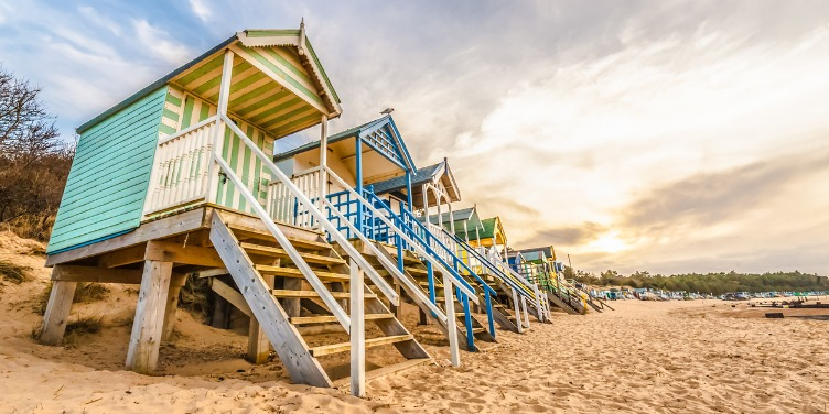 Colourful beach huts in Norfolk