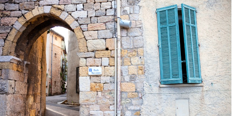 The old, medieval city walls of Mougins in Provence, South of France