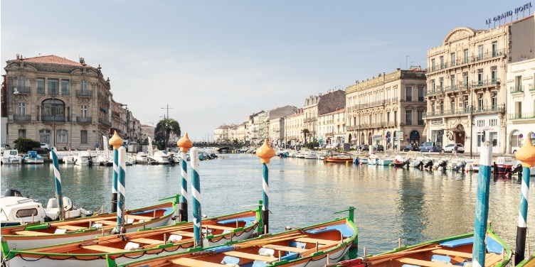 Colourful boats moored in harbour in Sète, South of France