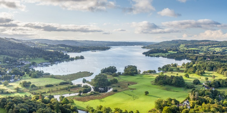 an image of Lake Windermere from one of the surrounding hills in Cumbria