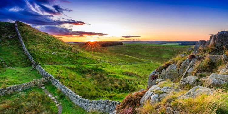an image of Hadrian's Wall at sunset