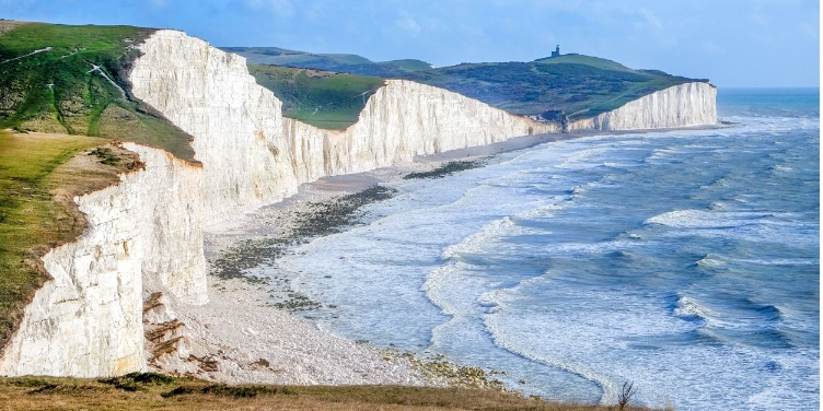 an image of the Seven Sisters cliffs in Sussex at sunset