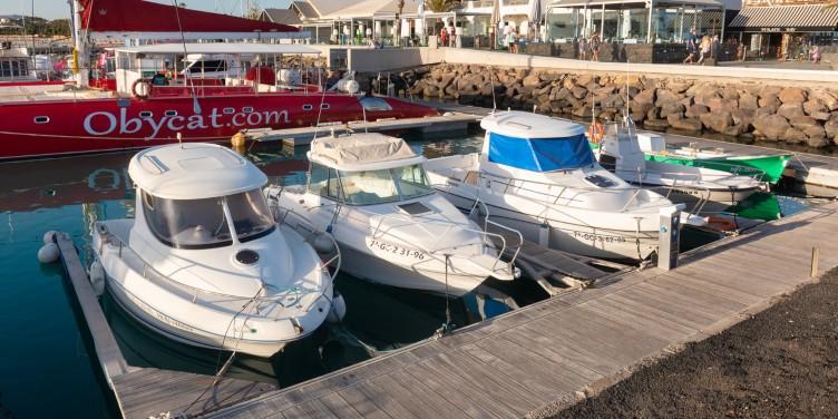 Boats moored at the harbour of the popular tourist resort of Caleta de Fuste, Fuerteventura