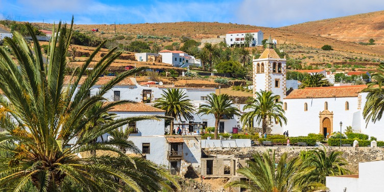 Views of whitewashed Betancuria village and it's famous cathedral Santa Maria