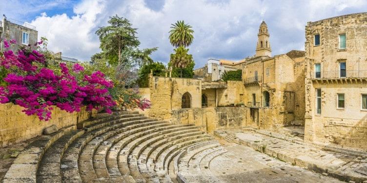 Ruins of a Roman theatre in Lecce, Puglia